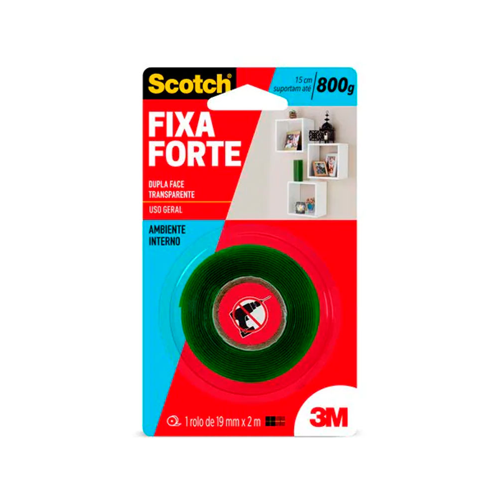 Fita Dupla Face Scotch Fixa Forte 19mm x 2m Transparente - 3M