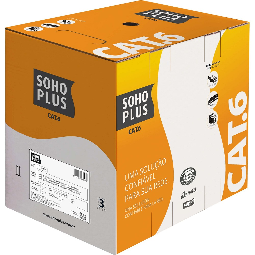 Cabo de Rede Cat6 Sohoplus 305mts, Sohoplus